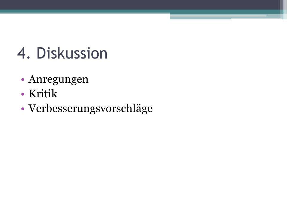 4. Diskussion Anregungen Kritik Verbesserungsvorschläge