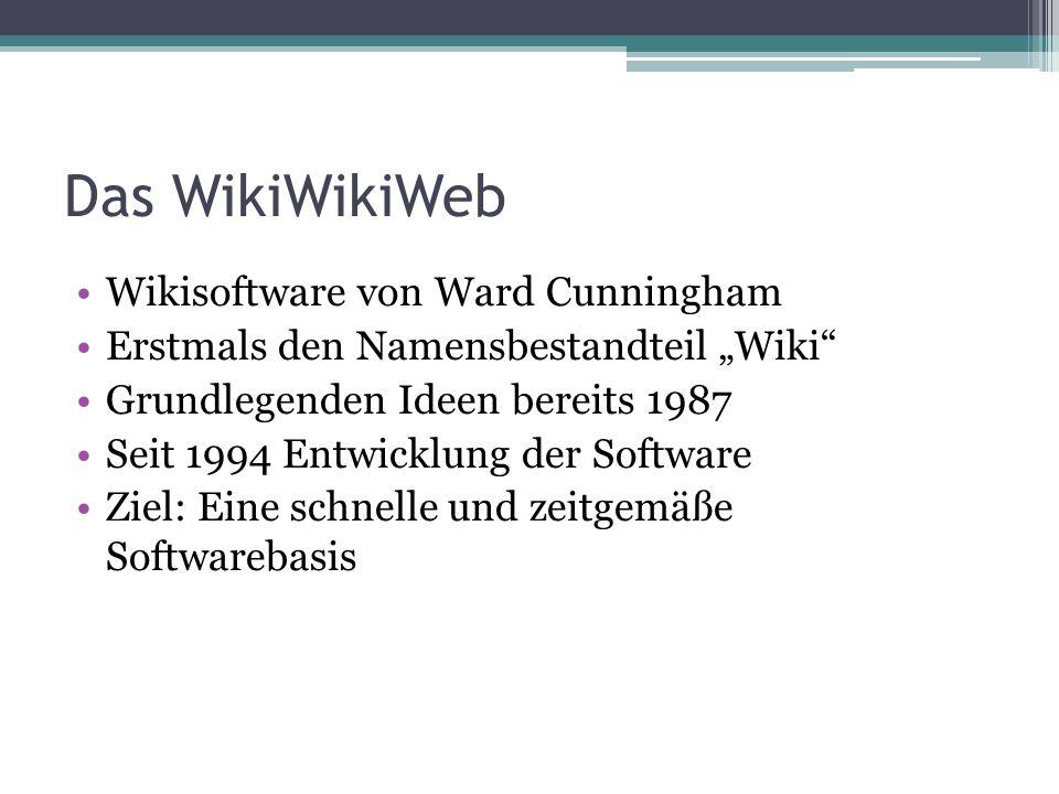 Das WikiWikiWeb Wikisoftware von Ward Cunningham Erstmals den Namensbestandteil Wiki Grundlegenden Ideen bereits 1987 Seit 1994 Entwicklung der Softwa