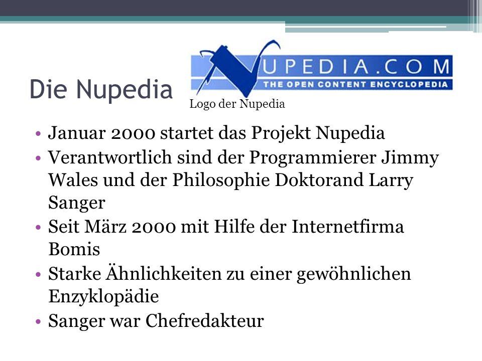 Die Nupedia Januar 2000 startet das Projekt Nupedia Verantwortlich sind der Programmierer Jimmy Wales und der Philosophie Doktorand Larry Sanger Seit