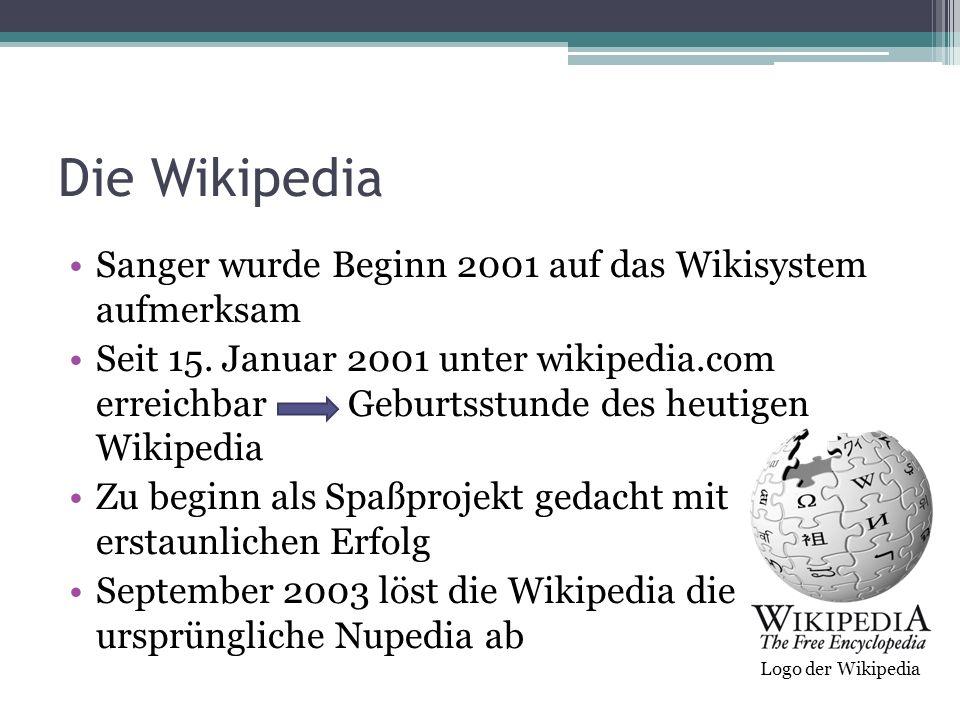 Die Wikipedia Sanger wurde Beginn 2001 auf das Wikisystem aufmerksam Seit 15. Januar 2001 unter wikipedia.com erreichbar Geburtsstunde des heutigen Wi