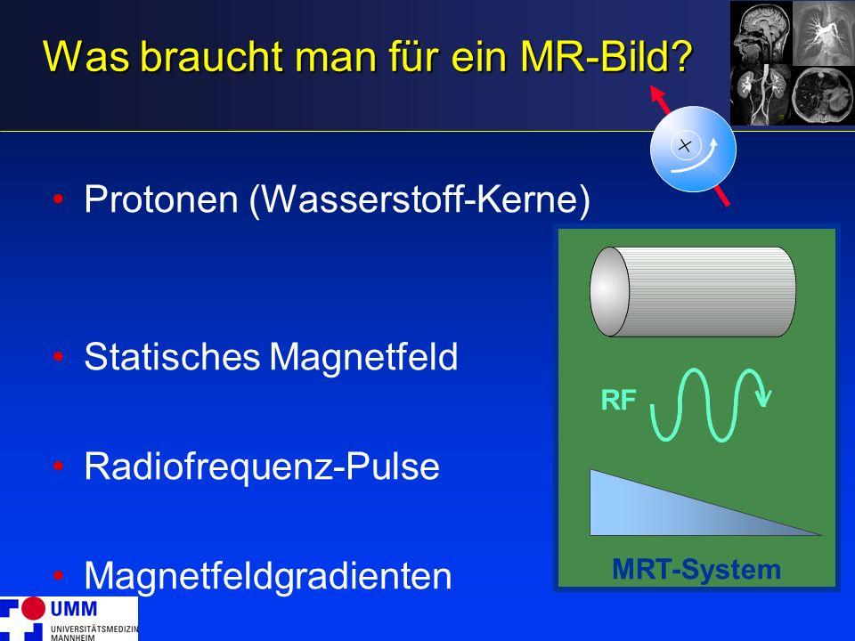 MRT-System Was braucht man für ein MR-Bild? Protonen (Wasserstoff-Kerne) Statisches Magnetfeld Radiofrequenz-Pulse Magnetfeldgradienten + RF