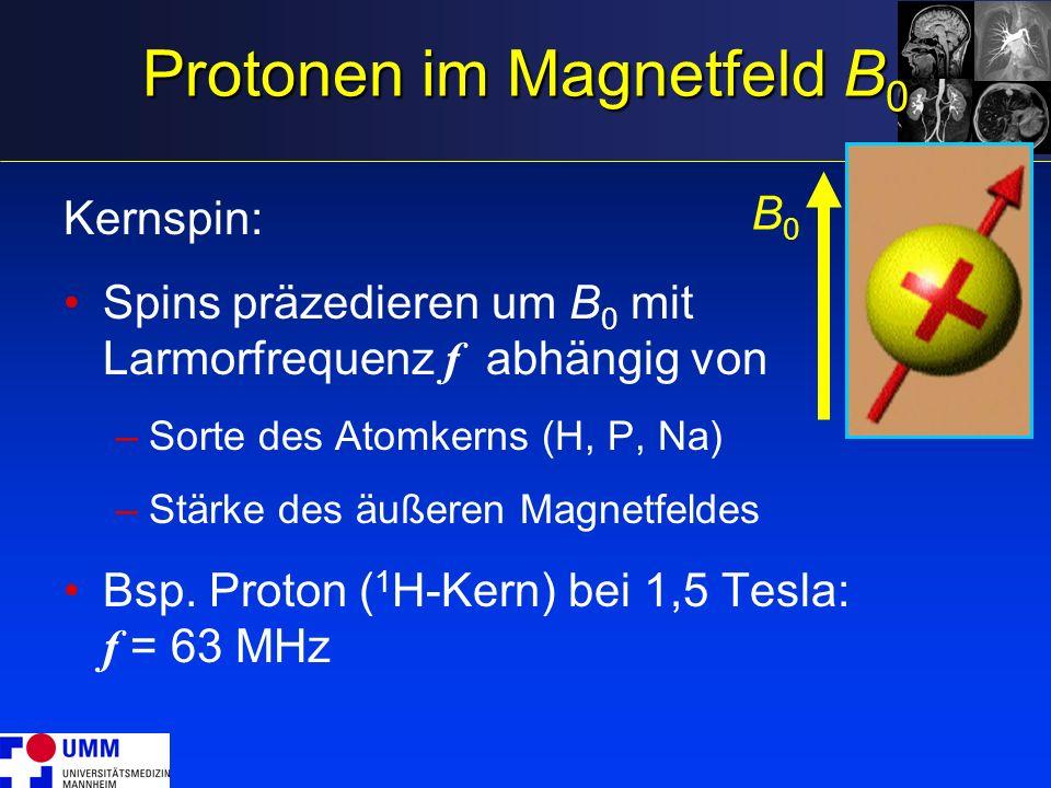 Protonen im Magnetfeld B 0 Kernspin: Spins präzedieren um B 0 mit Larmorfrequenz f abhängig von –Sorte des Atomkerns (H, P, Na) –Stärke des äußeren Ma