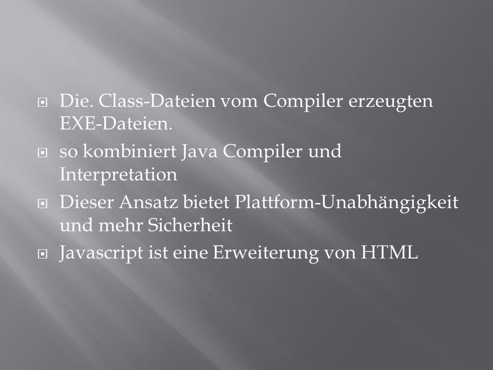 Die. Class-Dateien vom Compiler erzeugten EXE-Dateien.