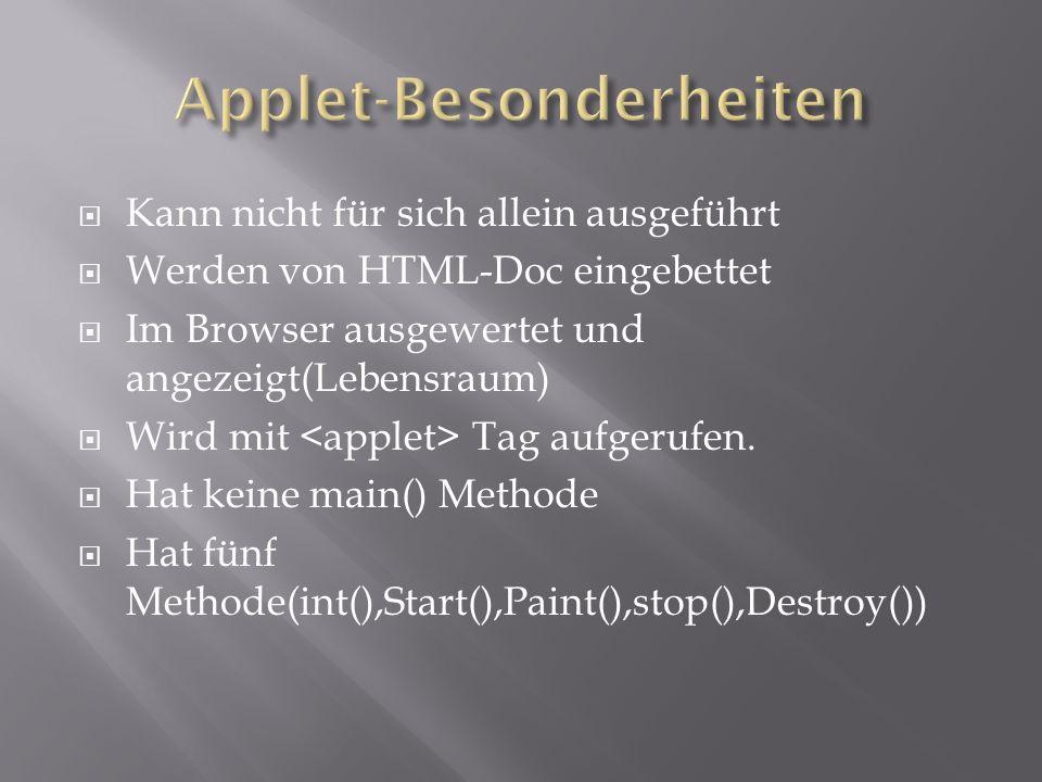 Kann nicht für sich allein ausgeführt Werden von HTML-Doc eingebettet Im Browser ausgewertet und angezeigt(Lebensraum) Wird mit Tag aufgerufen.