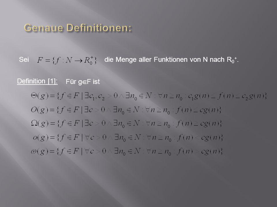 Definition [1]: Für g F ist Seidie Menge aller Funktionen von N nach R 0 +.