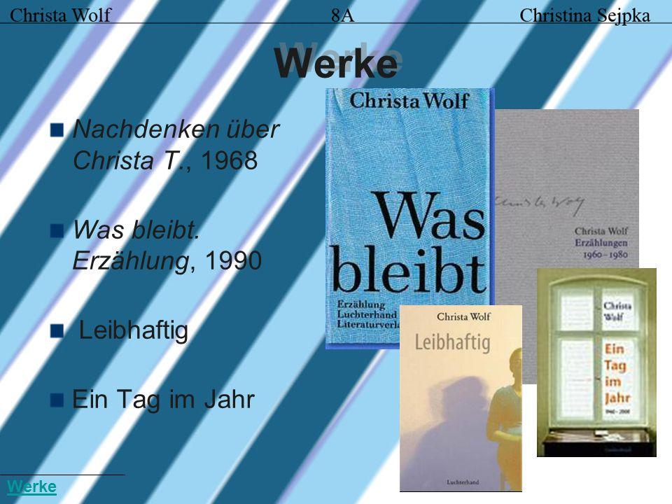 Werke Nachdenken über Christa T., 1968 Was bleibt. Erzählung, 1990 Leibhaftig Ein Tag im Jahr Werke