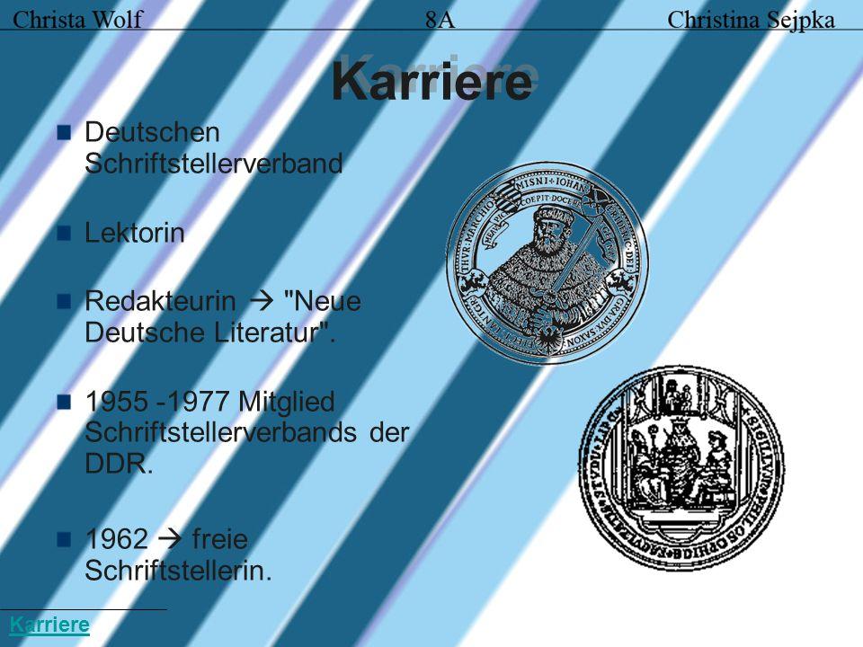 Umbruch und Aufschwung lebte 1962 -1976 Kleinmachnow seit 1976 Berlin Mitunterzeichnung des offenen Briefes gegen die Ausbürgerung Wolf Biermanns 1976 Schriftstellerverband ausgeschlossen.