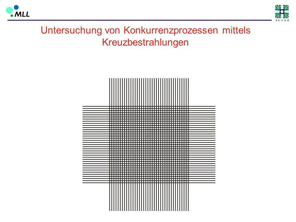 S N A K E Zuerst: waagrechte Linien Untersuchung von Konkurrenzprozessen mittels Kreuzbestrahlungen Nach einer Zeit T: senkrechte Linien