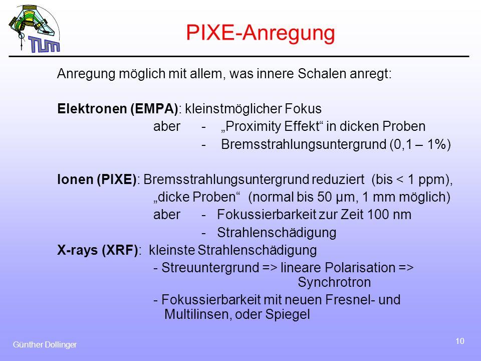 Günther Dollinger 10 PIXE-Anregung Anregung möglich mit allem, was innere Schalen anregt: Elektronen (EMPA): kleinstmöglicher Fokus aber - Proximity E