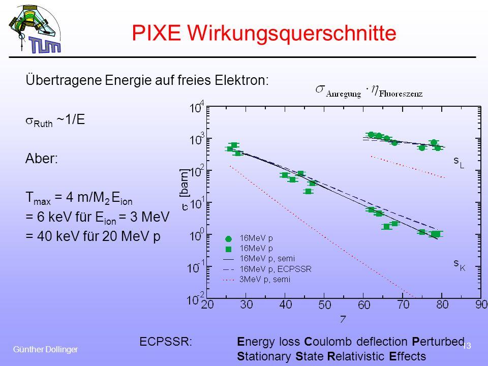 Günther Dollinger 13 PIXE Wirkungsquerschnitte Übertragene Energie auf freies Elektron: Ruth ~1/E Aber: T max = 4 m/M 2 E ion = 6 keV für E ion = 3 Me