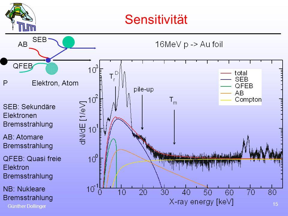 Günther Dollinger 15 Sensitivität PElektron, Atom AB QFEB SEB SEB: Sekundäre Elektronen Bremsstrahlung AB: Atomare Bremsstrahlung QFEB: Quasi freie El