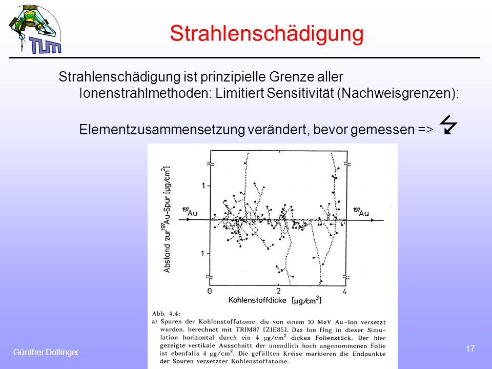 Günther Dollinger 17 Strahlenschädigung Strahlenschädigung ist prinzipielle Grenze aller Ionenstrahlmethoden: Limitiert Sensitivität (Nachweisgrenzen)