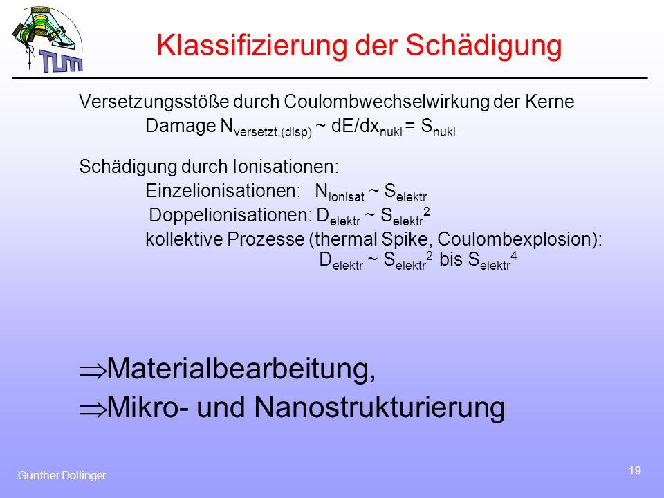 Günther Dollinger 19 Klassifizierung der Schädigung Versetzungsstöße durch Coulombwechselwirkung der Kerne Damage N versetzt,(disp) ~ dE/dx nukl = S n