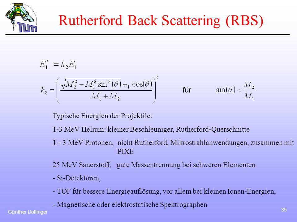 Günther Dollinger 35 Typische Energien der Projektile: 1-3 MeV Helium: kleiner Beschleuniger, Rutherford-Querschnitte 1 - 3 MeV Protonen, nicht Ruther