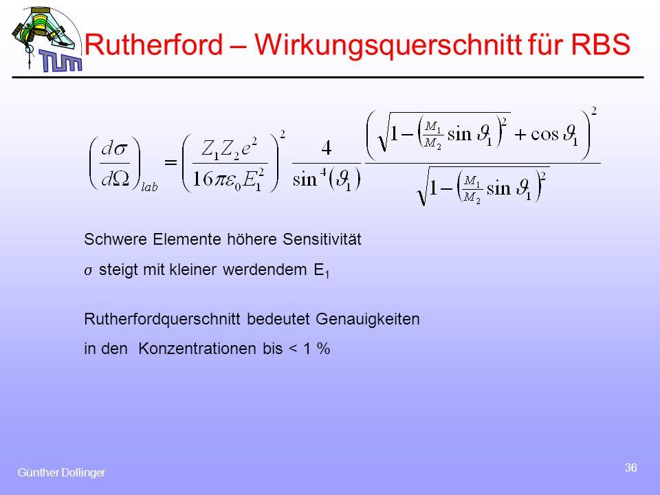 Günther Dollinger 36 Rutherford – Wirkungsquerschnitt für RBS Schwere Elemente höhere Sensitivität steigt mit kleiner werdendem E 1 Rutherfordquerschn