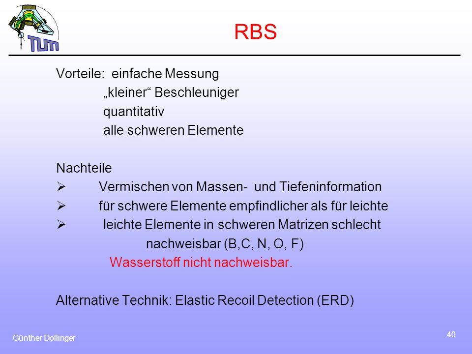 Günther Dollinger 40 RBS Vorteile: einfache Messung kleiner Beschleuniger quantitativ alle schweren Elemente Nachteile Vermischen von Massen- und Tief