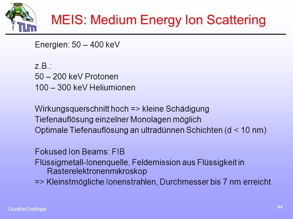 Günther Dollinger 44 MEIS: Medium Energy Ion Scattering Energien: 50 – 400 keV z.B.: 50 – 200 keV Protonen 100 – 300 keV Heliumionen Wirkungsquerschni