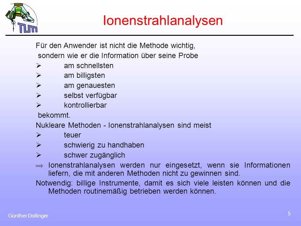 Günther Dollinger 5 Ionenstrahlanalysen Für den Anwender ist nicht die Methode wichtig, sondern wie er die Information über seine Probe am schnellsten