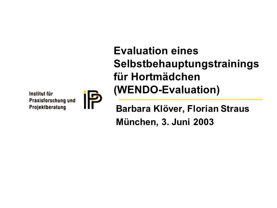 Evaluation eines Selbstbehauptungstrainings für Hortmädchen (WENDO-Evaluation) Barbara Klöver, Florian Straus München, 3. Juni 2003