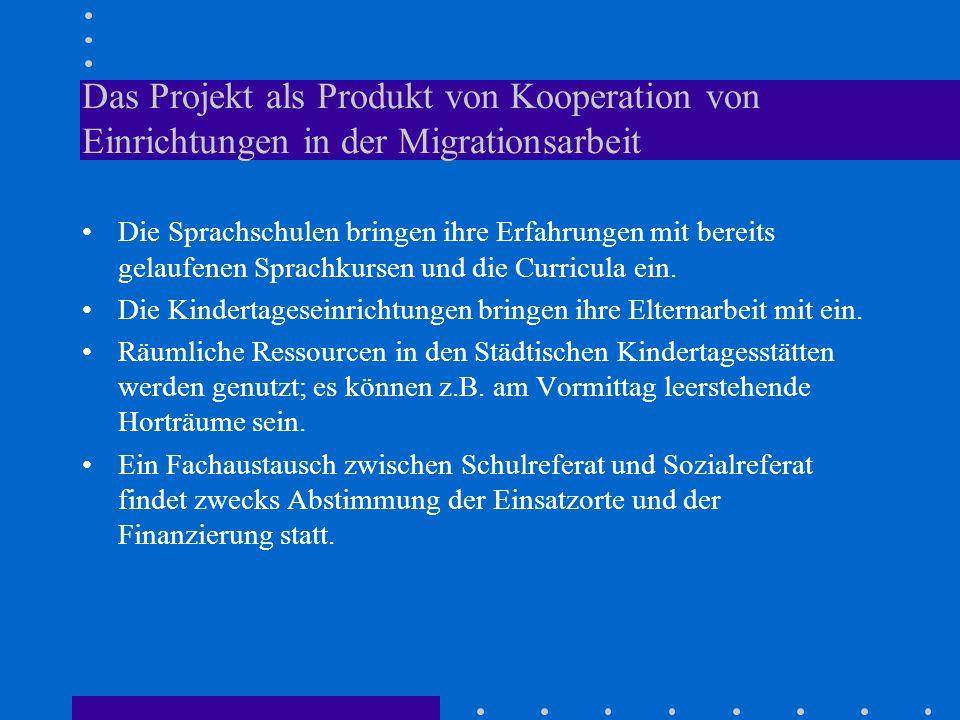 Das Projekt als Produkt von Kooperation von Einrichtungen in der Migrationsarbeit Die Sprachschulen bringen ihre Erfahrungen mit bereits gelaufenen Sp