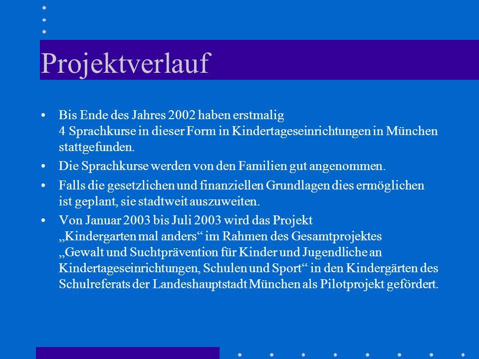 Projektverlauf Bis Ende des Jahres 2002 haben erstmalig 4 Sprachkurse in dieser Form in Kindertageseinrichtungen in München stattgefunden. Die Sprachk
