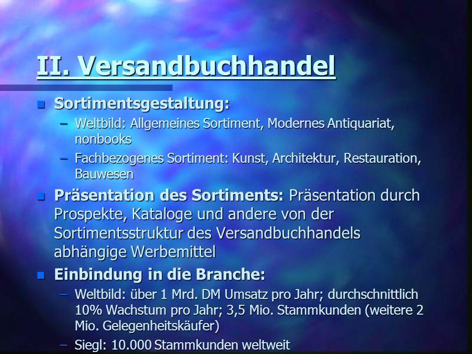 II. Versandbuchhandel n Sortimentsgestaltung: –Weltbild: Allgemeines Sortiment, Modernes Antiquariat, nonbooks –Fachbezogenes Sortiment: Kunst, Archit