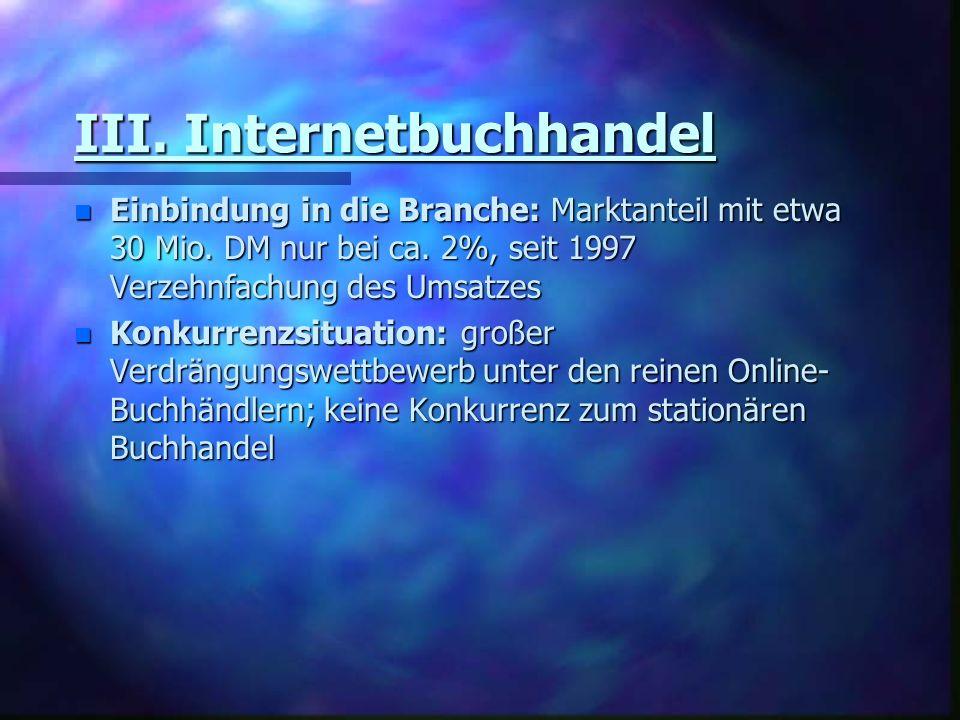III. Internetbuchhandel n Einbindung in die Branche: Marktanteil mit etwa 30 Mio. DM nur bei ca. 2%, seit 1997 Verzehnfachung des Umsatzes n Konkurren