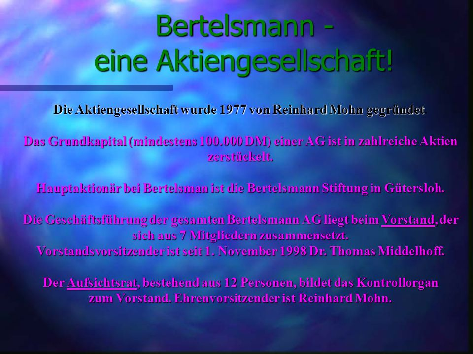 Umsatz nach Regionen in Mio. DM Deutschland: 7.306 Mio Übrige europ. Länder: 7.679 Mio USA: 9.031 Mio Sonst. Länder: 1.975 Mio Quelle: Geschäftsberich