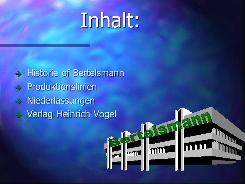 Inhalt: Historie of Bertelsmann Historie of Bertelsmann Produktionslinien Produktionslinien Niederlassungen Niederlassungen Verlag Heinrich Vogel Verlag Heinrich Vogel