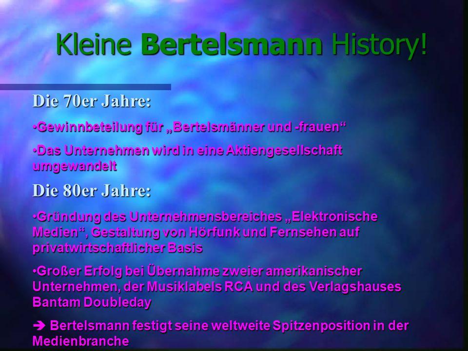München Gütersloh Berlin Die wichtigsten Standpunkte von Bertelsmann in Deutschland sind: Aber auch in anderen deutschen Städten hat Bertelsmann wichtige Niederlassungen: Bertelsmann DEUTSCHLAND.