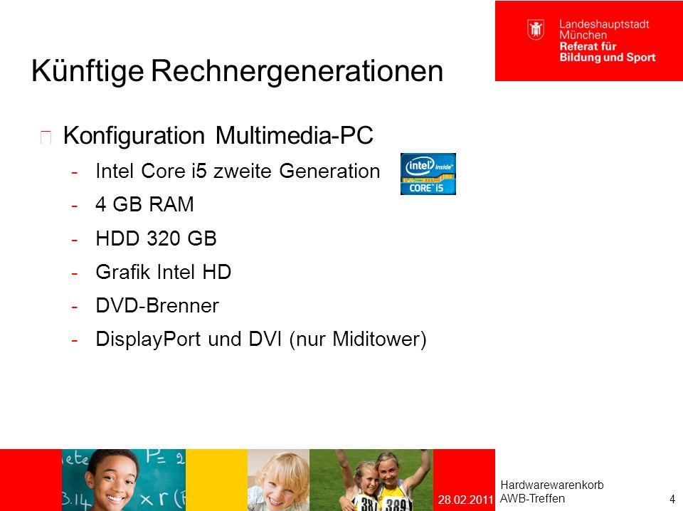 Künftige Rechnergeneration Konfiguration CAD-/ Videoschnitt Workstation  Intel Core i7 zweite Generation  8 GB RAM  HDD 500 GB / 640 GB  Grafik nVidia Quadro 2000  DVD-Brenner  eSATA und USB 3.0  DisplayPort und DVI Hardwarewarenkorb AWB-Treffen 5 28.02.2011