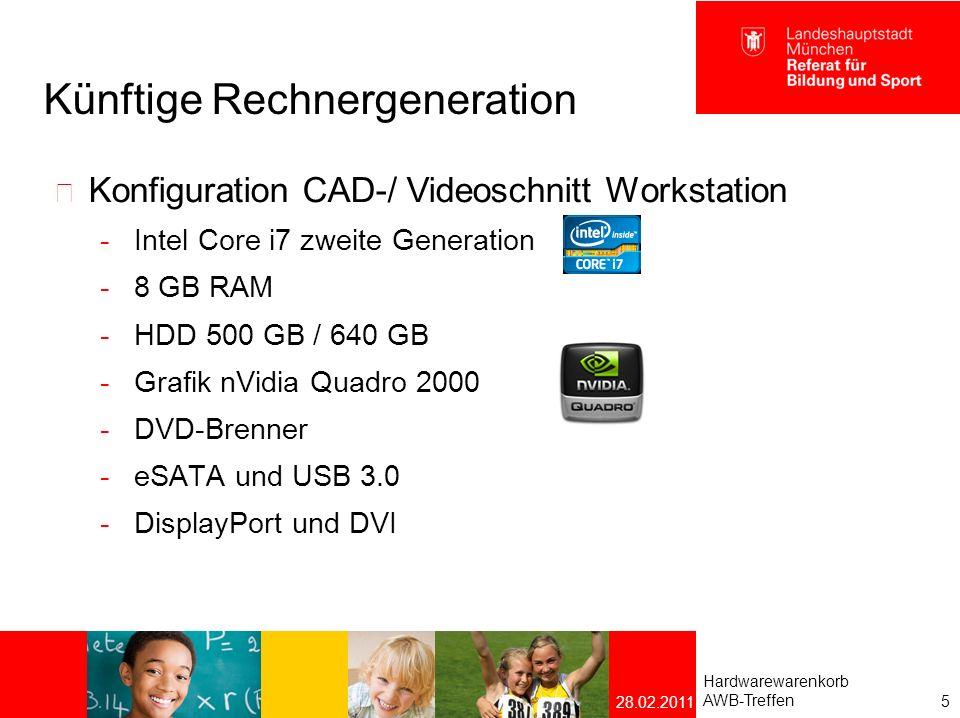 Künftige Rechnergeneration Ultra Small Desktop wird ersetzt durch All-in-one – Gerät mit der Konfiguration eines Multimedia-PCs Hardwarewarenkorb AWB-Treffen 6 28.02.2011