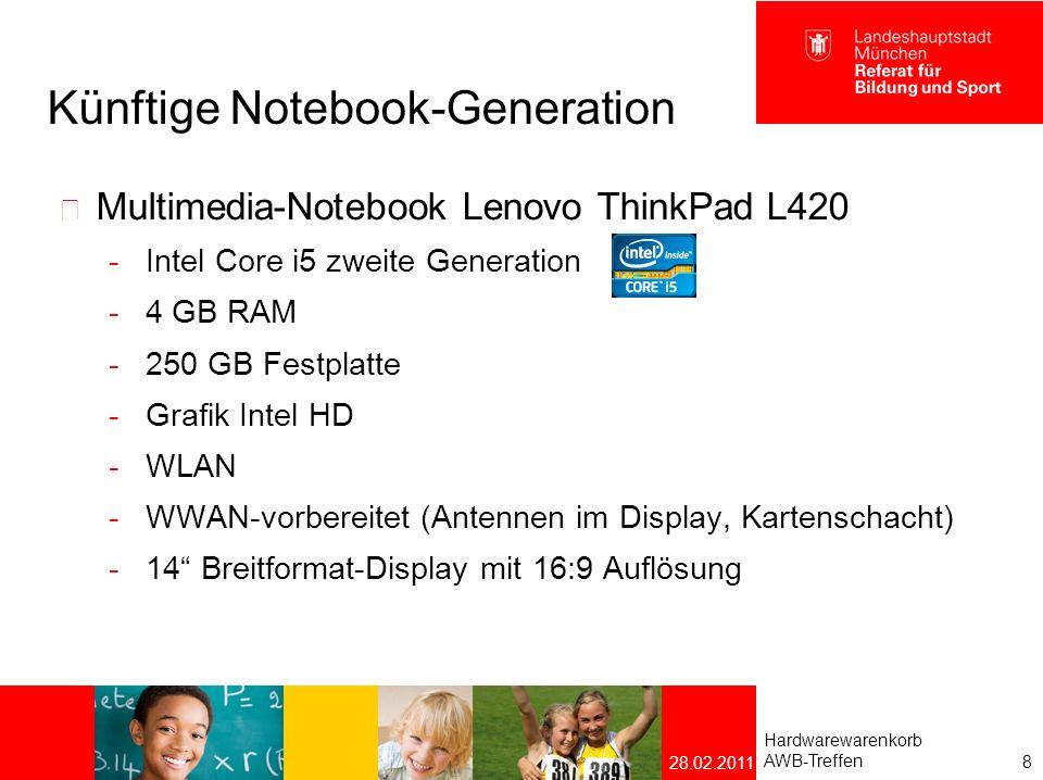 Künftige Notebook-Generation CAD-/ Videoschnitt – Workstation Lenovo ThinkPad W520  Intel Core i7 zweite Generation  8 GB RAM  500 GB Festplatte  Grafik nVidia Quadro 1000 M mit 2GB dediziertem RAM  WLAN  WWAN-vorbereitet  15,6 Full-HD Display (1920 x 1080 Bildpunkte)  USB 3.0 und eSATA - Schnittstelle Hardwarewarenkorb AWB-Treffen 9 28.02.2011