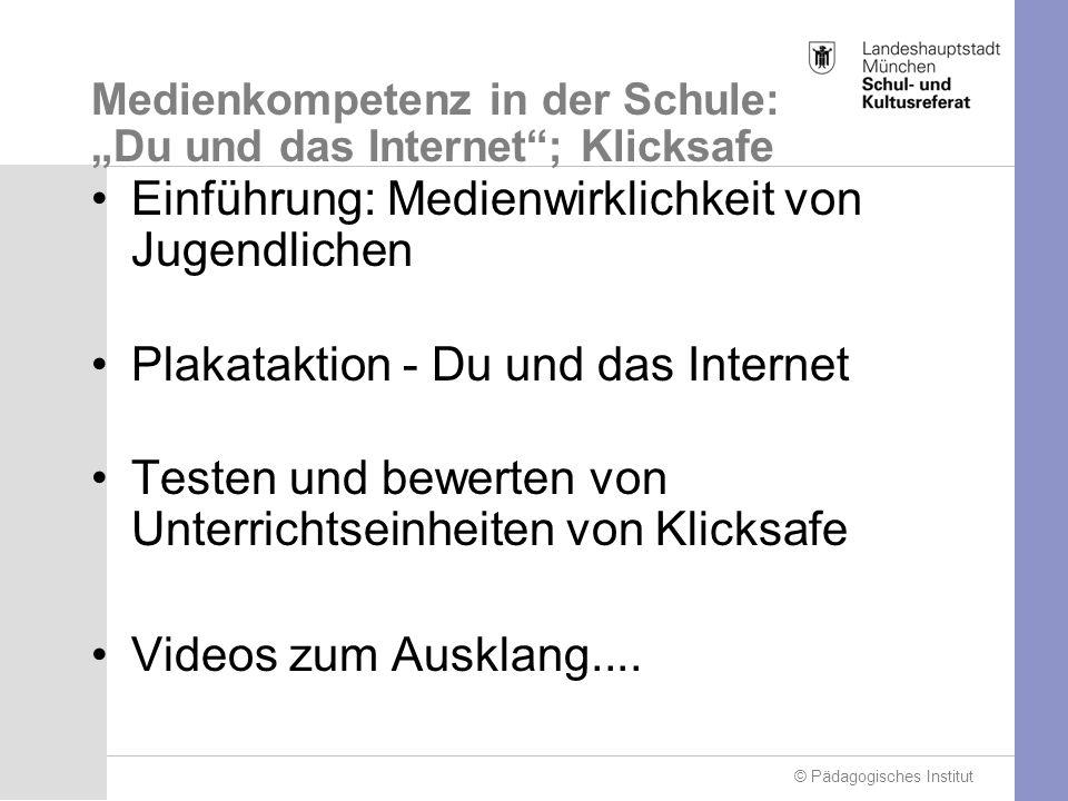 © Pädagogisches Institut Einführung: Medienwirklichkeit von Jugendlichen Plakataktion - Du und das Internet Testen und bewerten von Unterrichtseinheiten von Klicksafe Videos zum Ausklang....