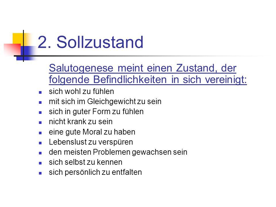 2. Sollzustand Salutogenese meint einen Zustand, der folgende Befindlichkeiten in sich vereinigt: sich wohl zu fühlen mit sich im Gleichgewicht zu sei