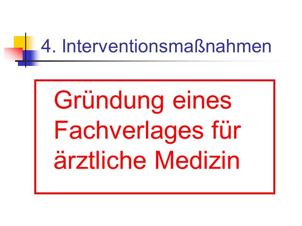 4. Interventionsmaßnahmen Gründung eines Fachverlages für ärztliche Medizin
