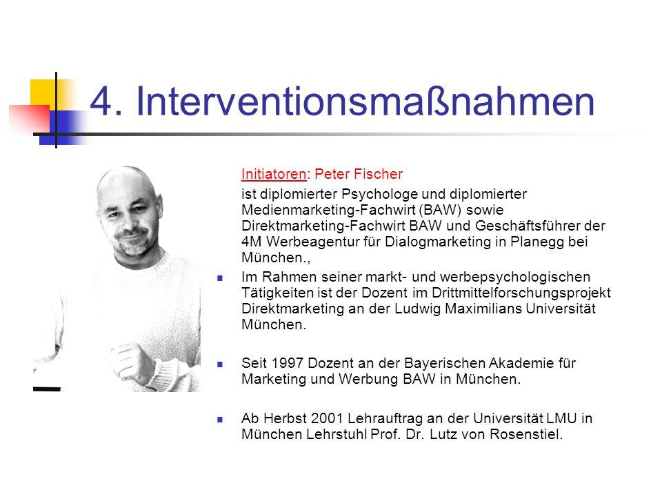 4. Interventionsmaßnahmen Initiatoren: Peter Fischer ist diplomierter Psychologe und diplomierter Medienmarketing-Fachwirt (BAW) sowie Direktmarketing