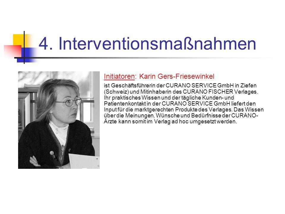 4. Interventionsmaßnahmen Initiatoren: Karin Gers-Friesewinkel ist Geschäftsführerin der CURANO SERVICE GmbH in Ziefen (Schweiz) und Mitinhaberin des