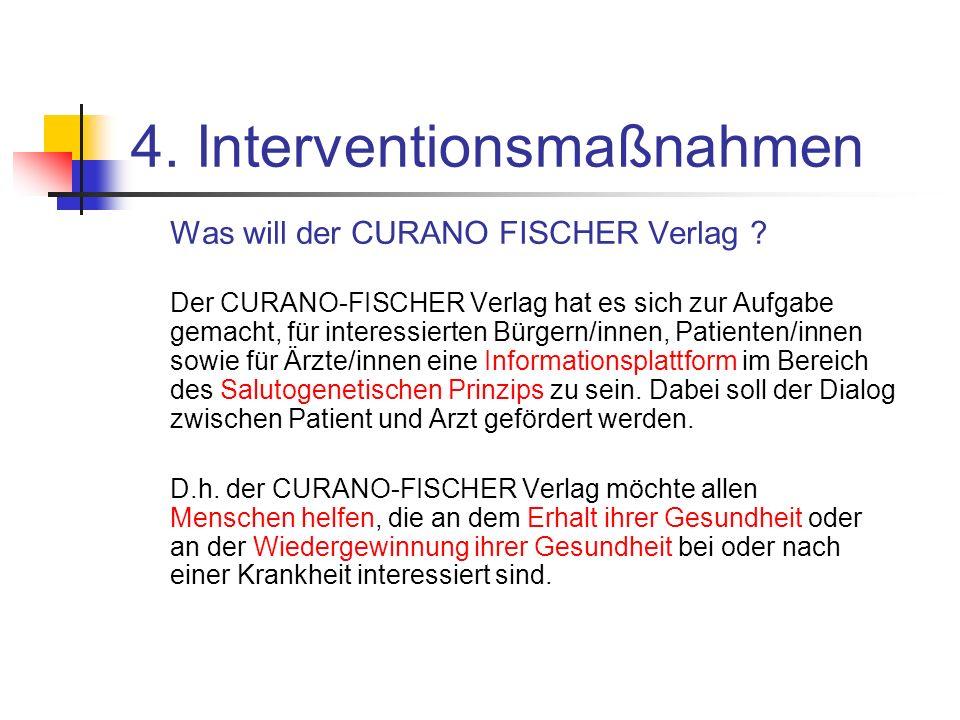 4. Interventionsmaßnahmen Was will der CURANO FISCHER Verlag ? Der CURANO-FISCHER Verlag hat es sich zur Aufgabe gemacht, für interessierten Bürgern/i