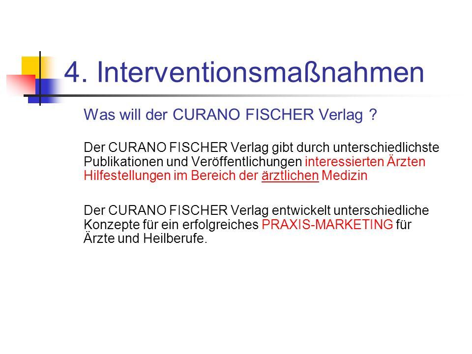 4. Interventionsmaßnahmen Was will der CURANO FISCHER Verlag ? Der CURANO FISCHER Verlag gibt durch unterschiedlichste Publikationen und Veröffentlich