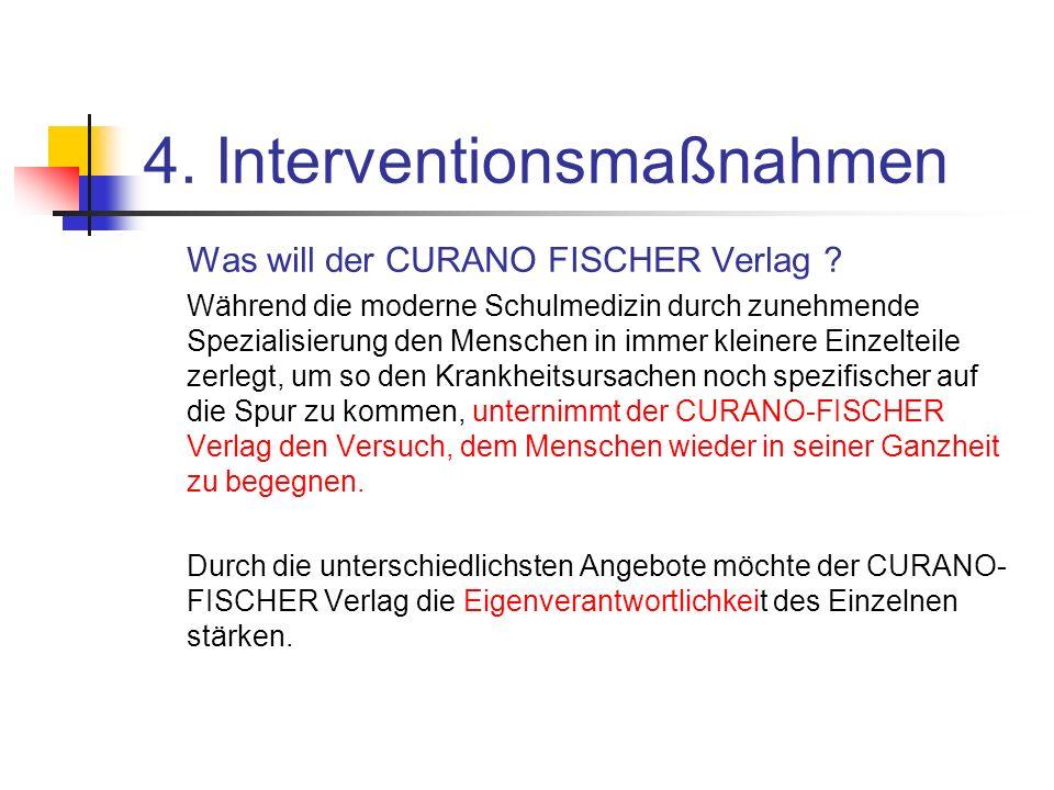 4. Interventionsmaßnahmen Was will der CURANO FISCHER Verlag ? Während die moderne Schulmedizin durch zunehmende Spezialisierung den Menschen in immer