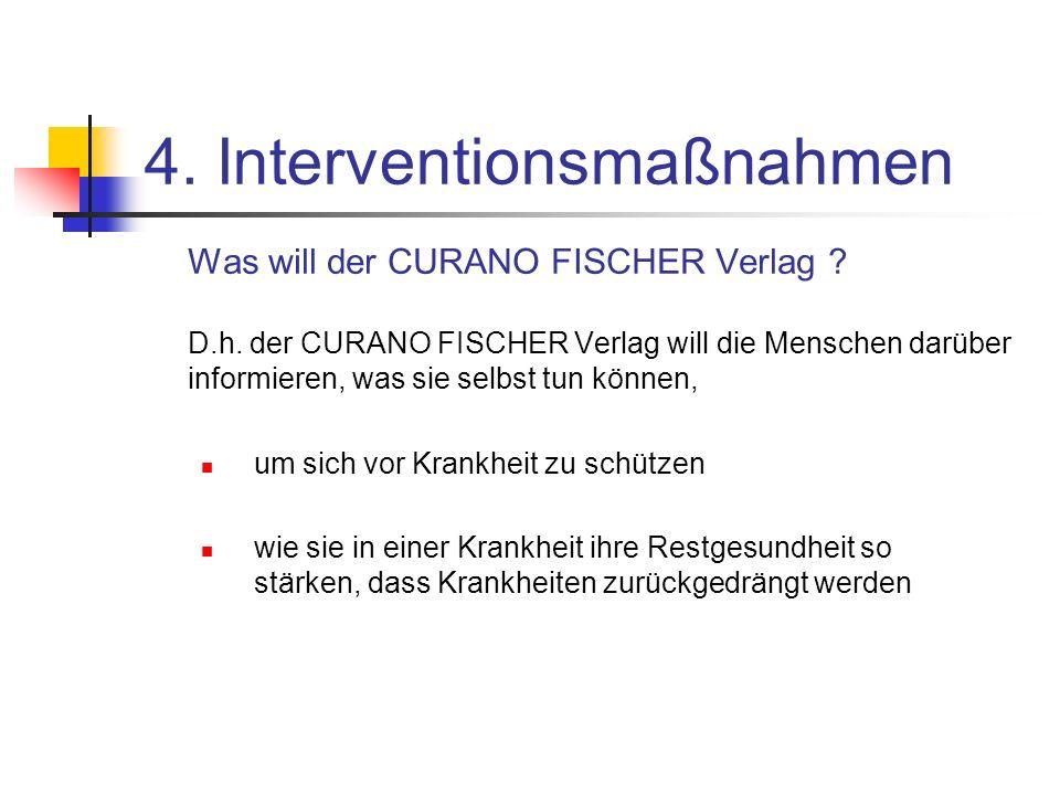 4. Interventionsmaßnahmen Was will der CURANO FISCHER Verlag ? D.h. der CURANO FISCHER Verlag will die Menschen darüber informieren, was sie selbst tu