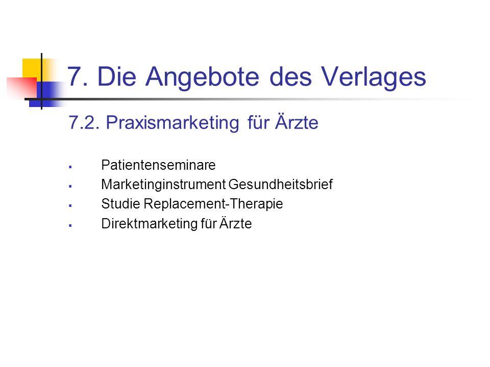7. Die Angebote des Verlages 7.2. Praxismarketing für Ärzte Patientenseminare Marketinginstrument Gesundheitsbrief Studie Replacement-Therapie Direktm