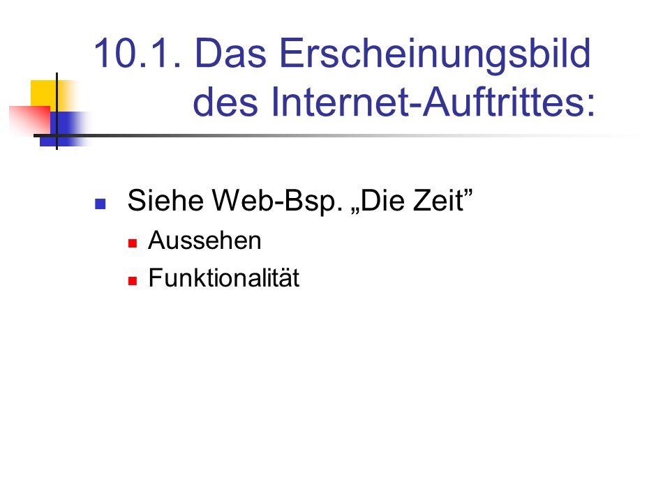 10.1. Das Erscheinungsbild des Internet-Auftrittes: Siehe Web-Bsp. Die Zeit Aussehen Funktionalität