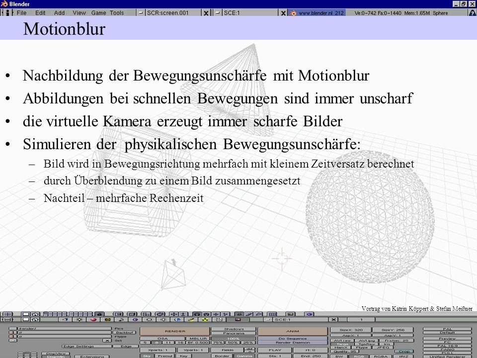Vortrag von Katrin Köppert & Stefan Meißner Toon Rendering Edge: –Berechnung nicht photorealistisch Comic Eint: –Schwellwert zum Einstellen der schwar