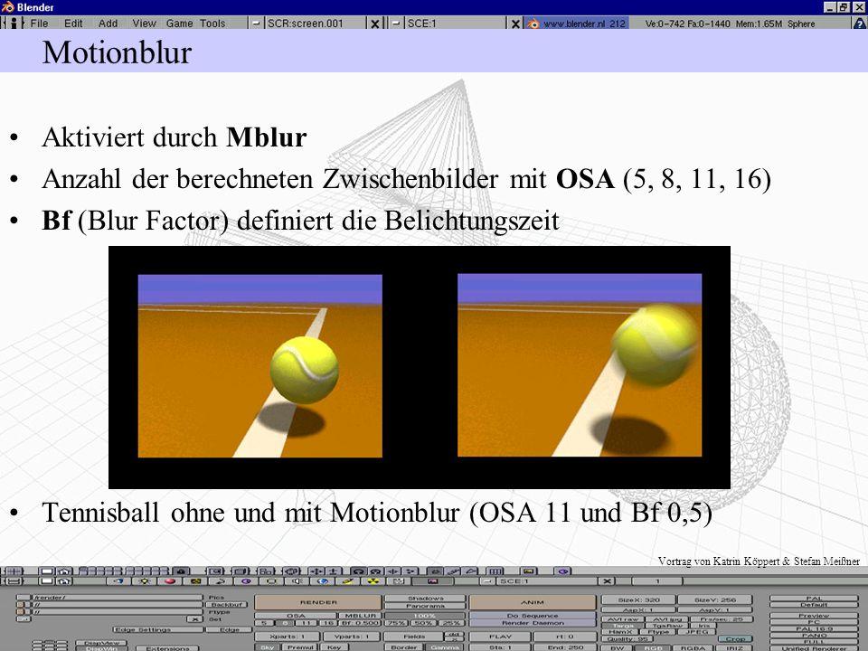 Vortrag von Katrin Köppert & Stefan Meißner Motionblur Nachbildung der Bewegungsunschärfe mit Motionblur Abbildungen bei schnellen Bewegungen sind imm