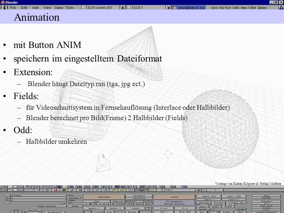 Vortrag von Katrin Köppert & Stefan Meißner Bildformate für HTML JPEG: –von Blender direkt gespeichert –möglichst geringe Dateigrößen, wegen der Übert