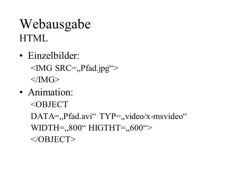Webausgabe HTML Einzelbilder: Animation: <OBJECT DATA=Pfad.avi TYP=video/x-msvideo WIDTH=800 HIGTHT=600>