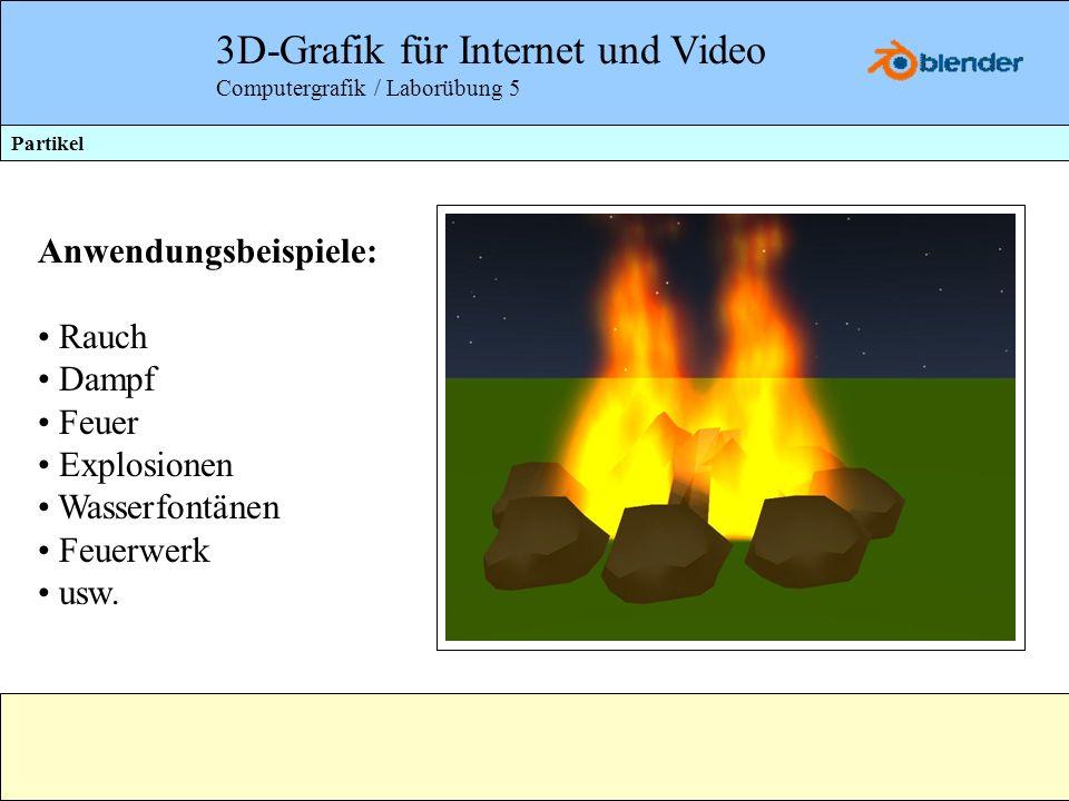 3D-Grafik für Internet und Video Computergrafik / Laborübung 5 Partikel Anwendungsbeispiele: Rauch Dampf Feuer Explosionen Wasserfontänen Feuerwerk us