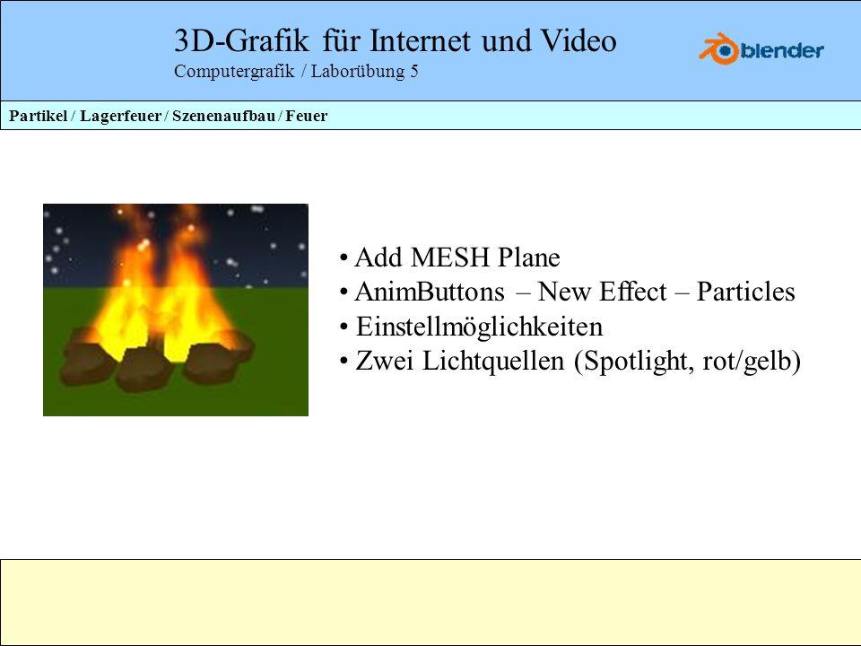 3D-Grafik für Internet und Video Computergrafik / Laborübung 5 Partikel / Lagerfeuer / Szenenaufbau / Feuer Add MESH Plane AnimButtons – New Effect –